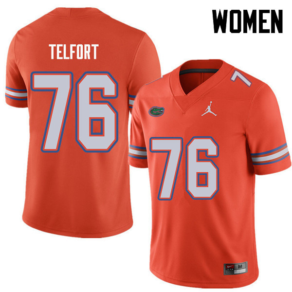 Jordan Brand Women #76 Kadeem Telfort Florida Gators College Football Jerseys Sale-Orange